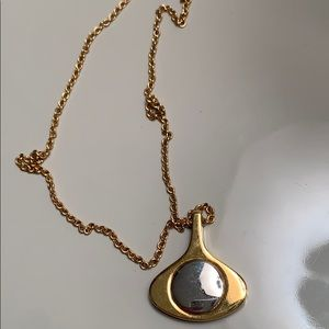 Vintage gold and silver funky shaped necklace